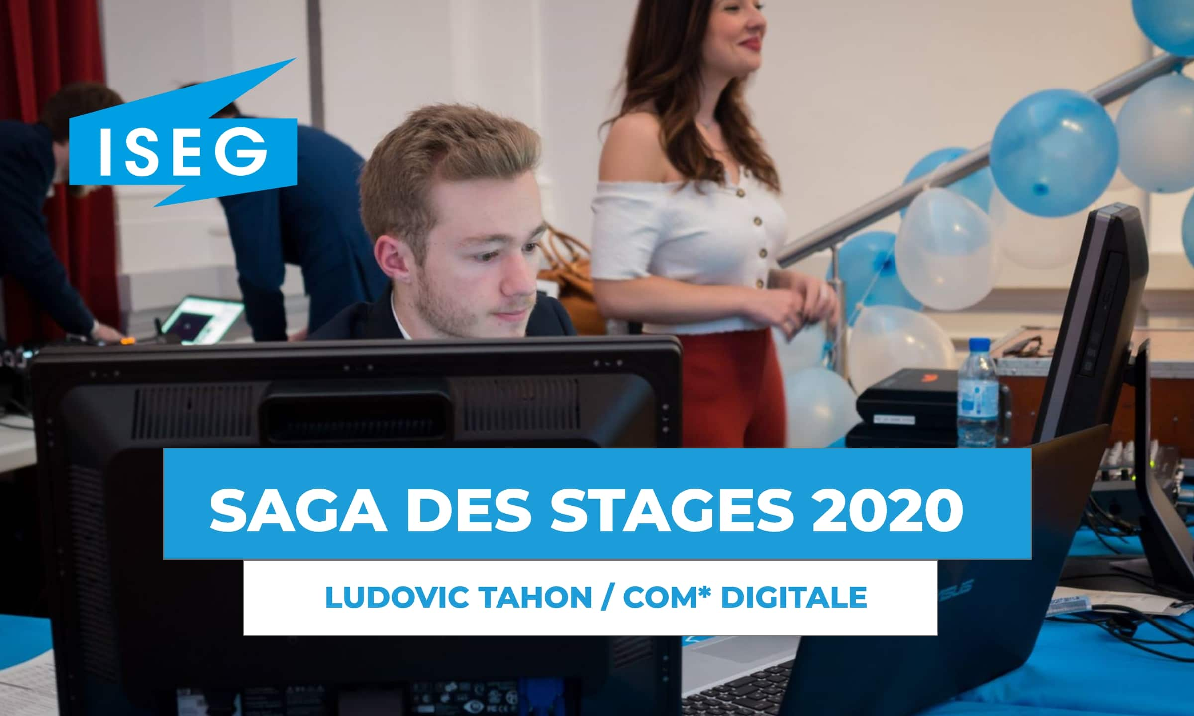 SAGA DES STAGES : rencontre avec Ludovic Tahon, en stage de communication digitale à l'ISEG !