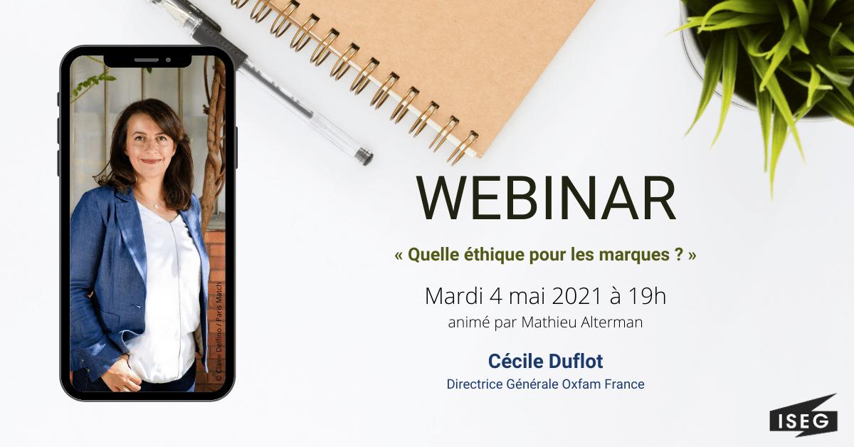 Cécile Duflot est l'invitée du prochain webinar ISEG UP